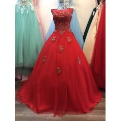Áo cưới ren cổ lưới, màu đỏ quyến rũ, ren đồng điểm rời ở tùng áo