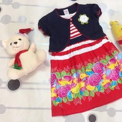 Đầm kate hoa kèm áo khoác con, hàng Thái cho bé 2-3-4 tuổi