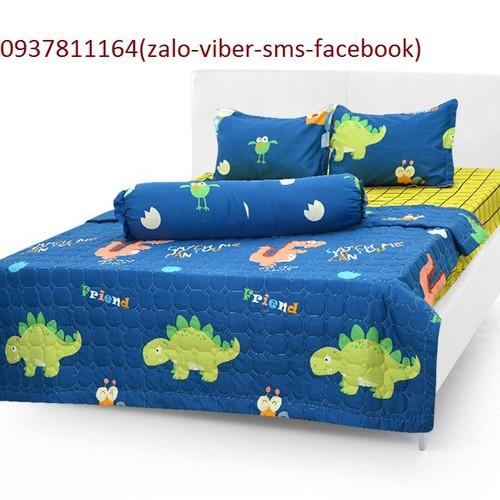 bộ  ga+3 gối cotton poly hàn quốc cao cấp rồng con dễ thương cho bé- LH ZALO 0899673032