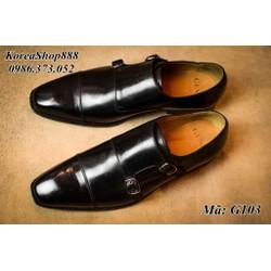 Giày MonkStrap Da Bò Italy Đế Khâu Hanmade Mã G103