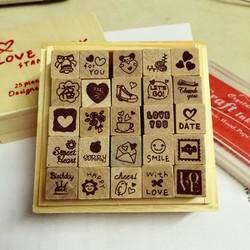 Bộ 25 con dấu Love diary trang trí handmade