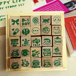 Bộ 25 con dấu Happy life trang trí handmade