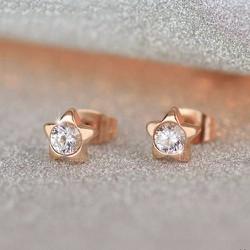 Bông tai titan ngôi sao đính hột xoàn thời trang vàng hồng mẫu TB051