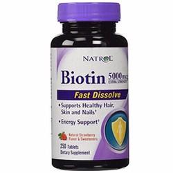 Viên ngậm kích thích mọc tóc Natrol Biotin 5000mcg 250 viên