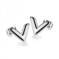 Bông tai titan thời trang Louis Vuitton màu trắng - TB048