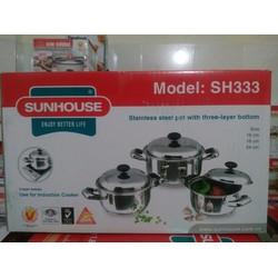 Bộ 3 nồi inox 3 đáy Sunhouse SH333