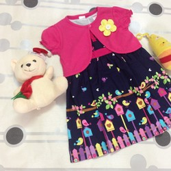 Đầm kate hoa kèm áo khoác con, hàng Thái Lan cho bé 2-3-4 tuổi