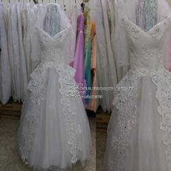 Áo cưới trắng cổ V bẹt vai