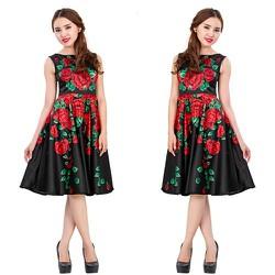 Đầm Xòe In Hoa Phi Lụa