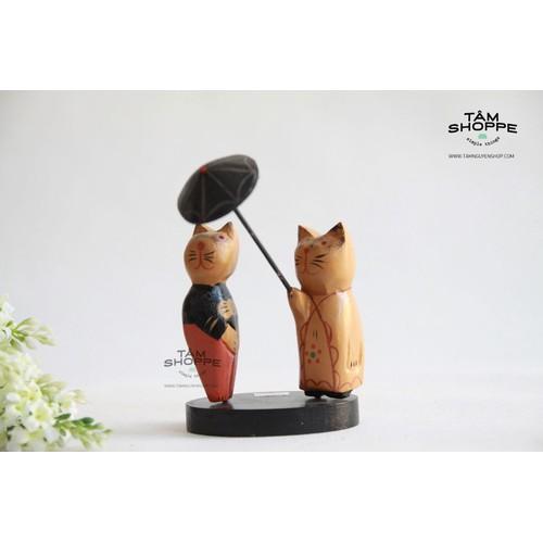 Mèo gỗ Zakka Nhật che dù