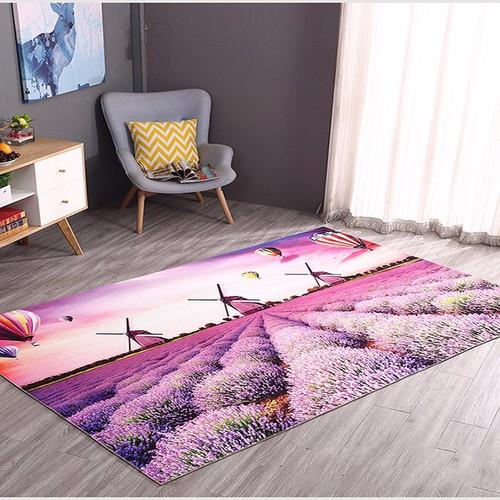 Thảm lông 3D vườn lavender BINBIN TL06