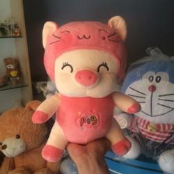 Heo bông đội lốt mèo hồng 35cm