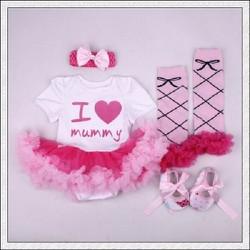 set 4 món sơ sinh I love Mummy