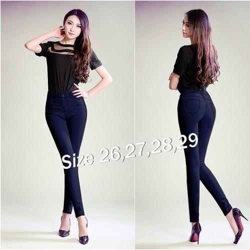 Quần jean nữ lưng cao 1 nút gân xéo cực xinh - AV2990