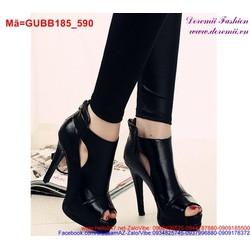 Giày boot cao gót hở mũi phong cách sang trọng nổi bật GUBB185