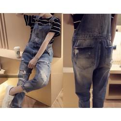 Quần yếm jean dài rách YD17 còn size S