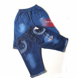 QG78 [28-42kg]Quần lửng jeans thêu mèo lưng thun size đại