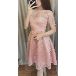 Đầm xòe ren tay con quảng châu