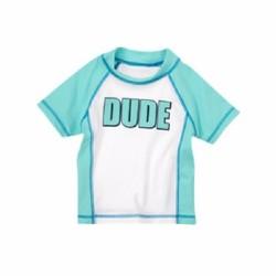 Áo bơi Crazy8 màu xanh ngọc và trắng chữ DUDE rất đẹp - Size 4, 5T