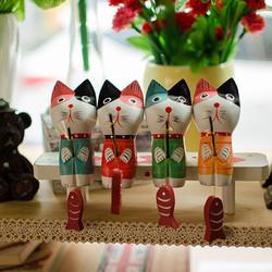 Set mèo câu cá trang trí để bàn