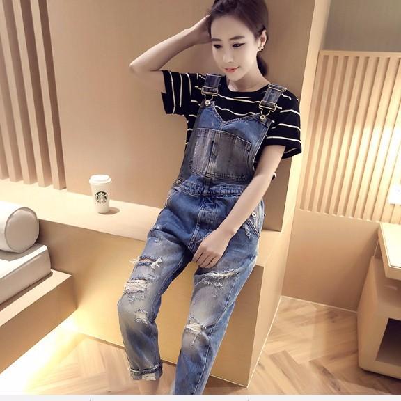 Quần yếm jean dài rách 1