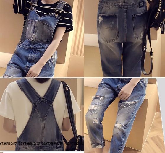 Quần yếm jean dài rách 4