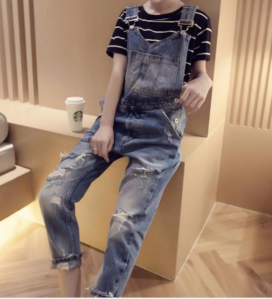 Quần yếm jean dài rách 2