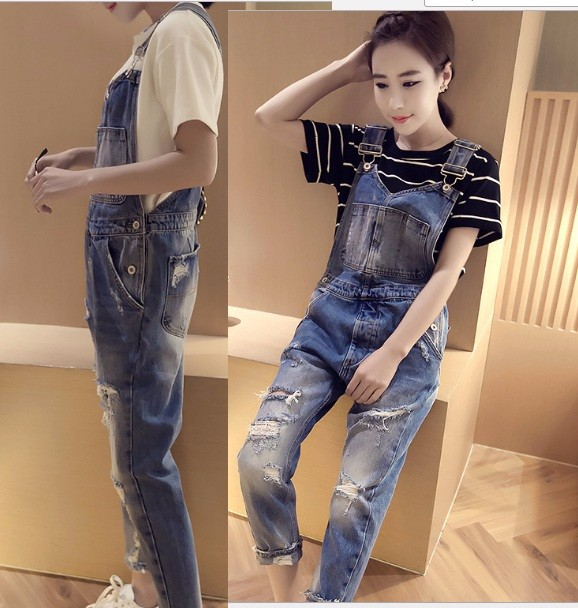 Quần yếm jean dài rách 3