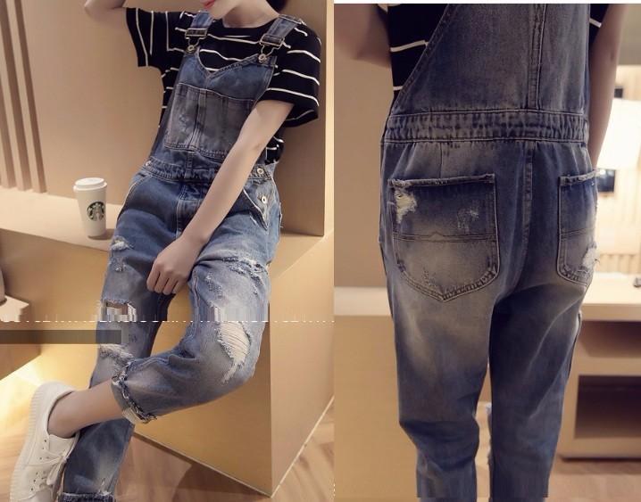 Quần yếm jean dài rách 5