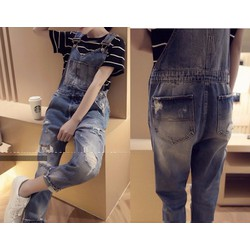Quần yếm jean dài rách