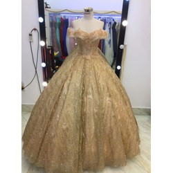 áo cưới tay ngang kim tuyến lấp lánh hàng co sẵn