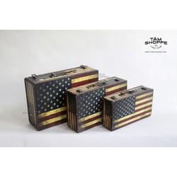 Vali cổ điển Vintage lá cờ Mỹ No.1