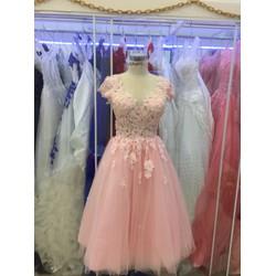 áo cưới ngắn hồng pastel xinh de thương