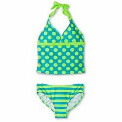 Áo bơi 2 mảnh Xhilaration Polka Dot Striped Tankini Set - Size 14-16