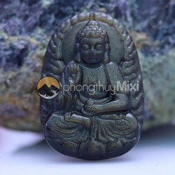 Dây Chuyền Mặtt Phật A Di Đà Obsidian Cho Người Tuổi Tuất- Hợi