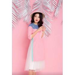 Sét chân váy trắng va áo dài hồng phối màu siêu sang