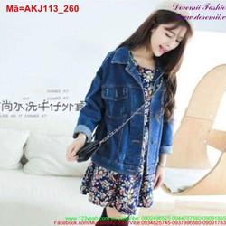 Áo khoác jean nữ tay dài form rộng cá tính AKJ113
