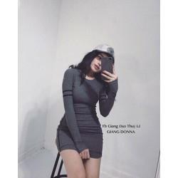 Đầm body tay dài viền _MỎ CHU SHOP