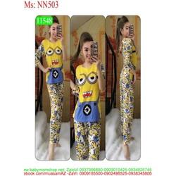 Đồ bộ mặc nhà dài tay hình minion đáng yêu NN503
