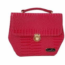 Túi xách nữ hình lục giác màu hồng với chất liệu da cao cấp - GK0016