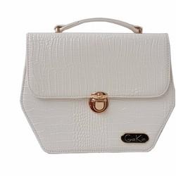 Túi xách nữ hình lục giác màu trắng với chất liệu da cao cấp - GK0019