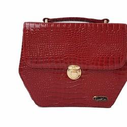 Túi xách nữ hình lục giác màu đỏ đô với chất liệu da cao cấp - GK0020