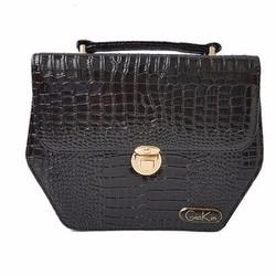 Túi xách nữ hình lục giác màu đen với chất liệu da cao cấp - GK0017