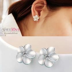 Bông tai  hoa sứ năm cánh đá Zircon xinh xắn dễ thương SPE-ED010