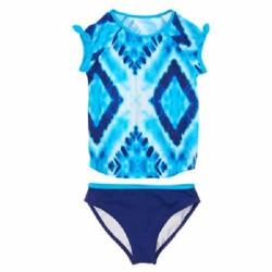 Áo và quần bơi Crazy8 2 mảnh màu xanh hoa văn - Size 4
