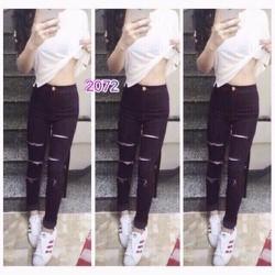 Quần jean dài đen rách nữ