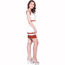 Đầm cao cấp màu trắng phối nâu