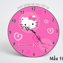 Đồng hồ treo tường họa tiết mèo Hello Kitty