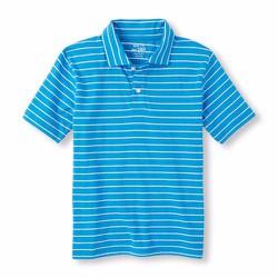 Áo Polo bé trai Children Place màu xanh sọc ngang trắng - Size 10-12