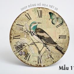 Đồng hồ treo tường họa tiết hình con chim